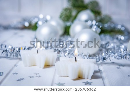 christmas still life with two candles
