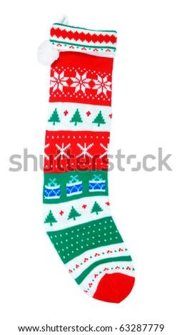 Christmas stocking isolated over white background . - stock photo