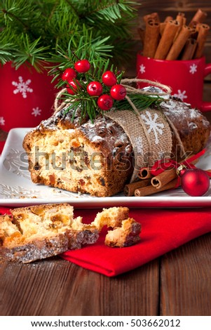 Christmas stollen with several ingredients