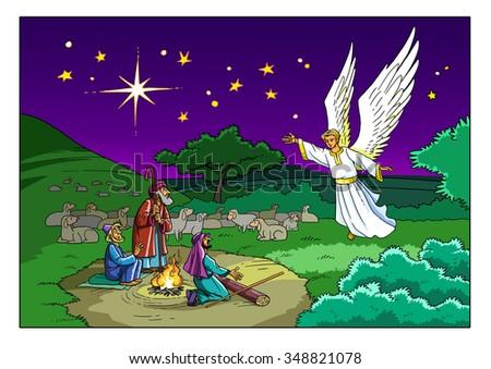 Christmas Story Shepherds Angel Stock Illustration ...
