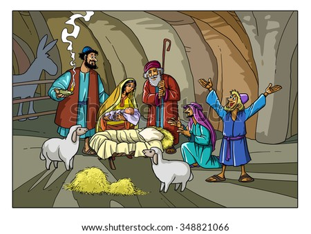 Christmas Story: Shepherds in the stable with Joseph, Mary and baby Jesus - stock photo