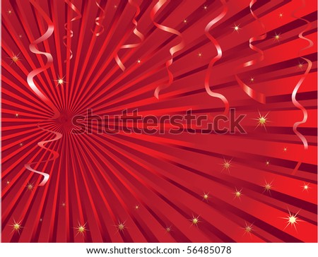 Christmas streamer background with space for text. - stock photo