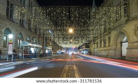 Christmas street light in Braunschweig - stock photo