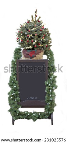 Christmas street price tag board with Christmas tree,  street board for prices  - stock photo