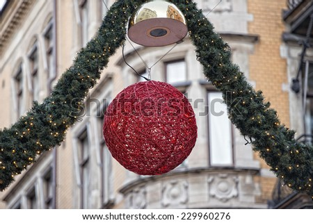 christmas streets lights in Stockholm - stock photo