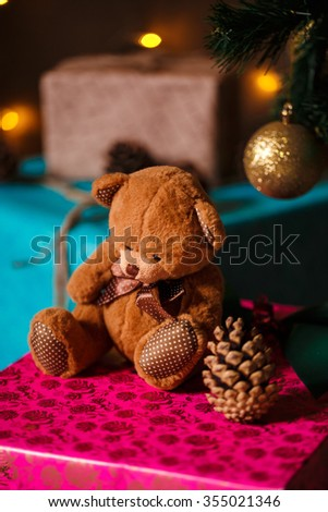 christmas stuff. shot made with shallow depth of field. selective focus.  - stock photo