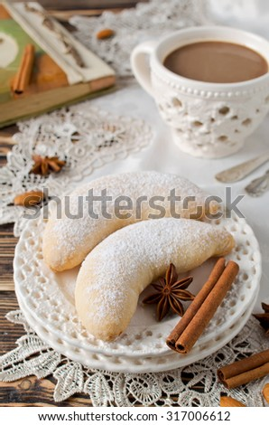 Christmas sugar cookies Crescent sprinkled with powdered sugar. Selective focus - stock photo
