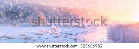Christmas sunny background. Panoramic landscape of frosty winter morning. Rising sun illuminate white snow and trees in hoarfrost.