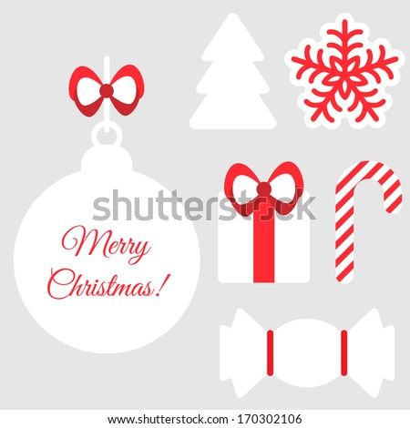 Christmas symbols isolated on white. For your design