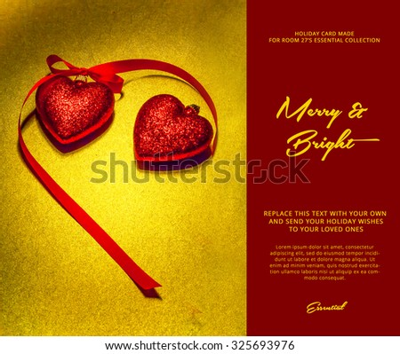 christmas synthesis of two decorative red hearts on a shiny gold background - stock photo