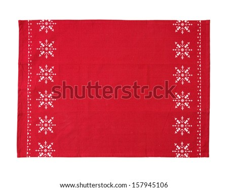 christmas table cloth isolated on white background with clipping path - stock photo
