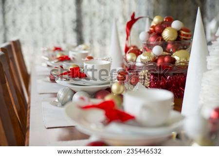 christmas table setting - stock photo