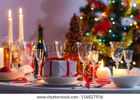 Christmas table setting before dinner - stock photo