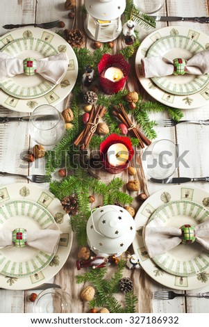 Christmas table setting. Holiday Decorations. - stock photo