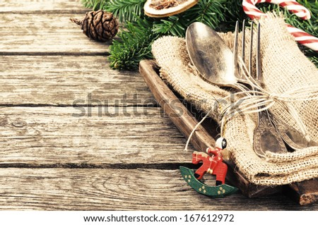Christmas table setting in retro style - stock photo