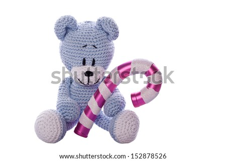 christmas teddy bear with sugar candy cane