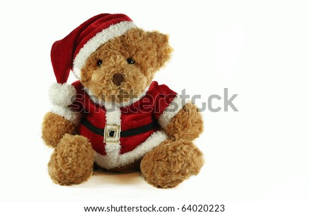 christmas teddybear isolated on white background - stock photo