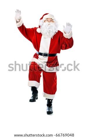 Christmas theme: happy Santa Claus. Isolated over white background. - stock photo