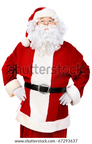 Christmas theme: happy Santa Claus. Isolated over white background. - stock photo