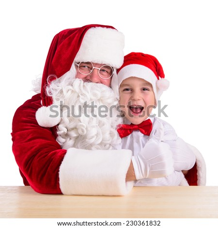 Christmas theme: Santa Claus and child having a fun. Isolated over white background