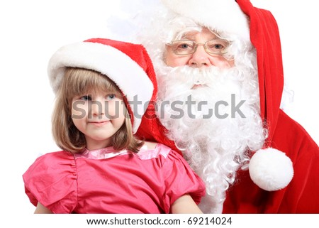 Christmas theme: Santa Claus and little girl.