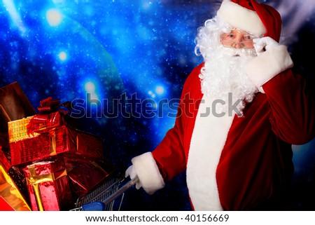 Christmas theme: Santa  gifts, shopping and snowy design. - stock photo