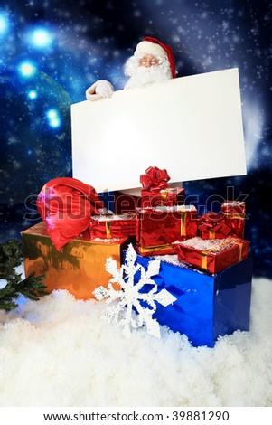 Christmas theme: Santa, gifts, snowy design. - stock photo