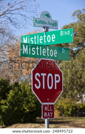 "Christmas theme street sign ""Mistletoe"" BLVD ans Drive"