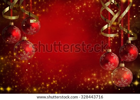 Christmas theme with red glass balls - stock photo