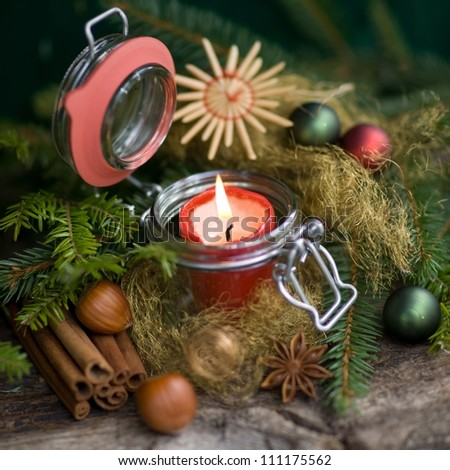 Christmas time, candle - stock photo