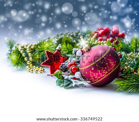 Christmas Time. Christmas card with ball fir and decor on glitter background.Xmas - stock photo
