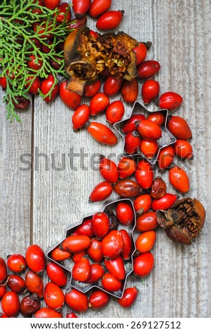 Christmas time decoration with rose hips  and branch of christmas tree on the wooden background - stock photo