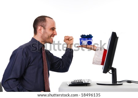 Christmas Time with presents on the internet - stock photo