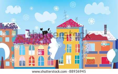 Christmas town street in winter with snow