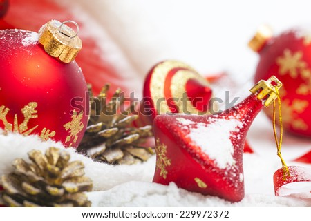 Christmas toy on a snow - stock photo