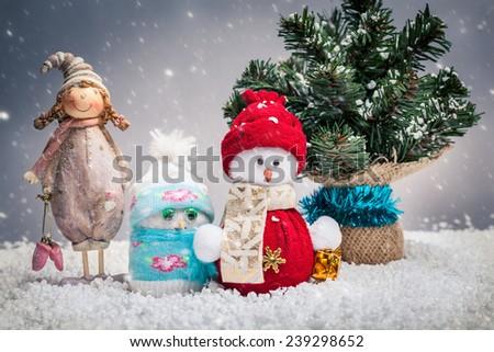 Christmas toys and Christmas trees - stock photo