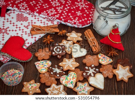 Christmas traditional handmade sweets : cookies and biscuits with spices