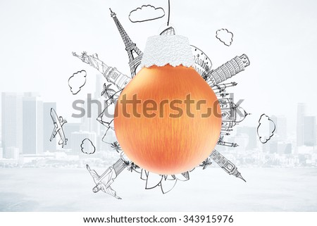 Christmas travel concept with red christmas tree ball and drawn landmarks of famous world places at city background - stock photo