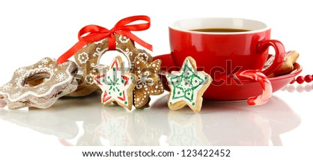 Christmas treats with cup of coffe isolated on white