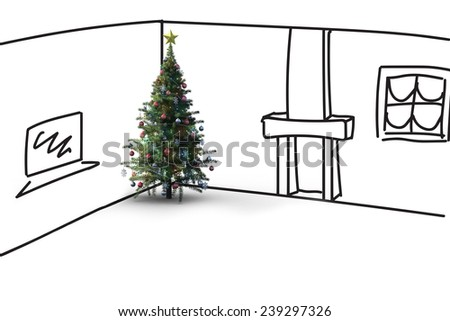 Christmas tree against living room sketch - stock photo