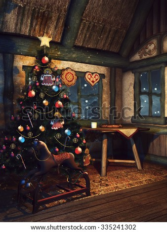 Christmas tree and a wooden rocking horse in a fairytale cottage - stock photo