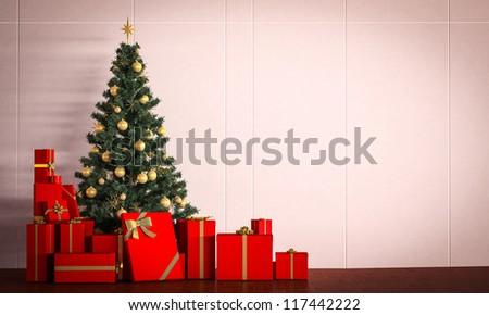 christmas tree and box of present - stock photo