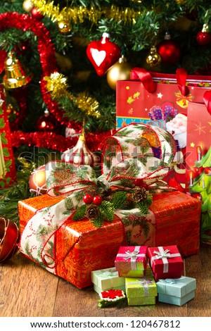 Christmas Tree and Christmas gift boxes - stock photo