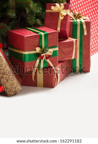 Christmas Tree and Christmas gift boxes, lots of copyspace - stock photo