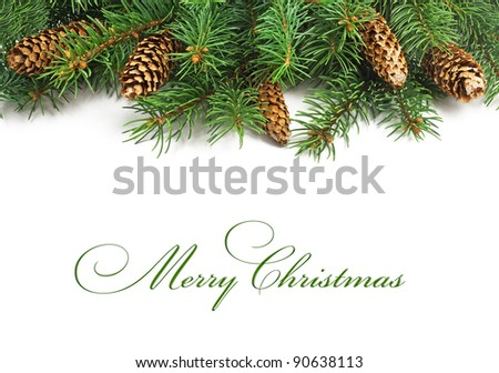 Christmas tree and cones - stock photo
