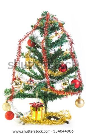 Christmas tree and decoration isolated on white background - stock photo