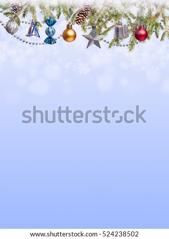 Christmas Tree and decorations on illuminations background space for lettering