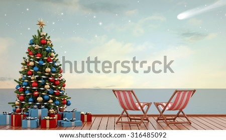 Christmas tree and gift on pier with two deckchair at sunset - 3D Rendering - stock photo