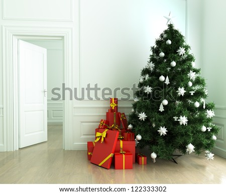 Christmas tree and gifts in the living room - stock photo