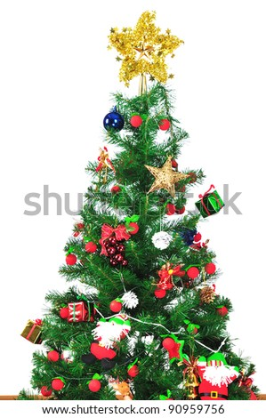 Christmas tree and gifts isolated on white background - stock photo